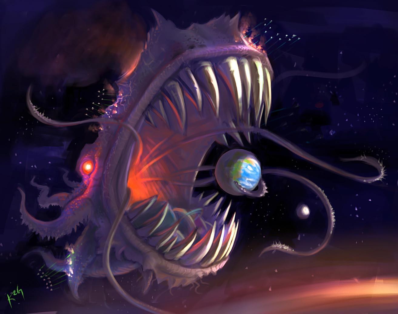Godlike Monster Art Fish Rivers Of Grue